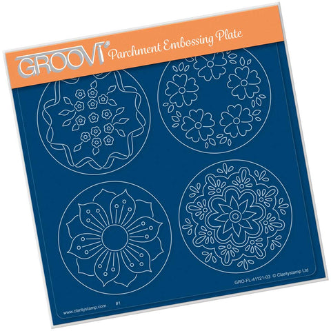 Josie's Parchment Trading Coin Flowers & Leaves A5 Square Groovi Plate