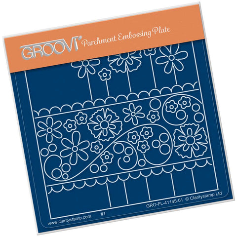 Floral Pane <br/> A6 Square Groovi Plate <br/> (PRE-ORDER)
