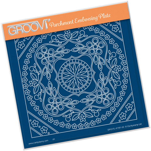 Tina's Symmetrical Floral Round <br/> A5 Square Groovi Plate