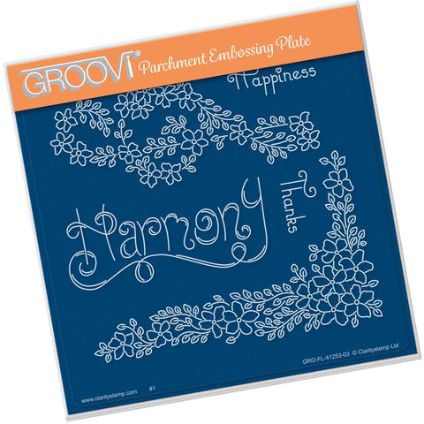 Tina's Harmony Flowers <br/> A5 Square Groovi Plate <br/> (PRE-ORDER)