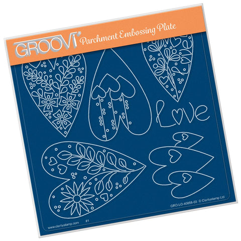 Tina's Doodle Love Hearts <br/> A5 Square Groovi Plate