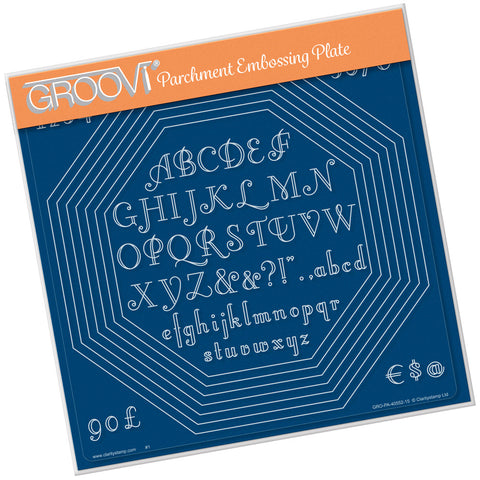 Octagon Extension & Art Deco Alphabet A4 Square Groovi Plate