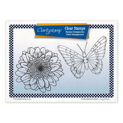 Gerbera & Butterfly <br/> Unmounted Clear Stamp Set