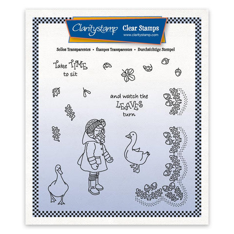 Linda's Children - Autumn -Girl With Geese - A5 Square Stamp & Mask Set