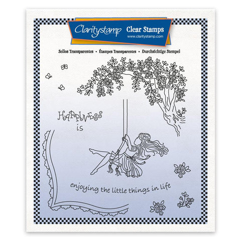 Linda's Children - Summer - Girl on A Swing - A5 Square Stamp & Mask Set