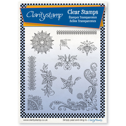 Tina's Henna Corners 2 <br/>Unmounted Clear Stamp Set