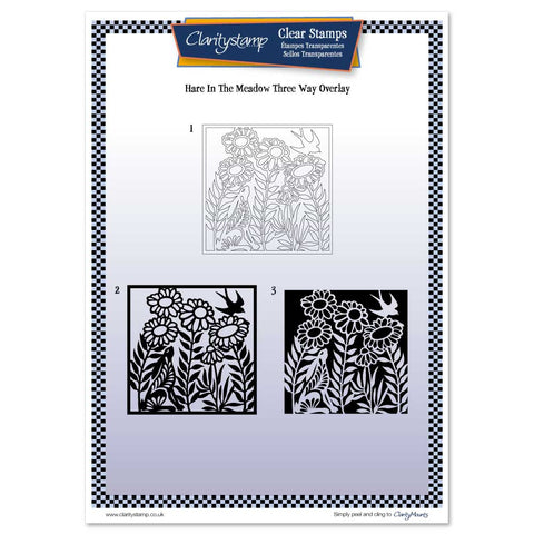Hare in the Meadow <br/> Three Way Overlay A4 Unmounted Clear Stamp Set