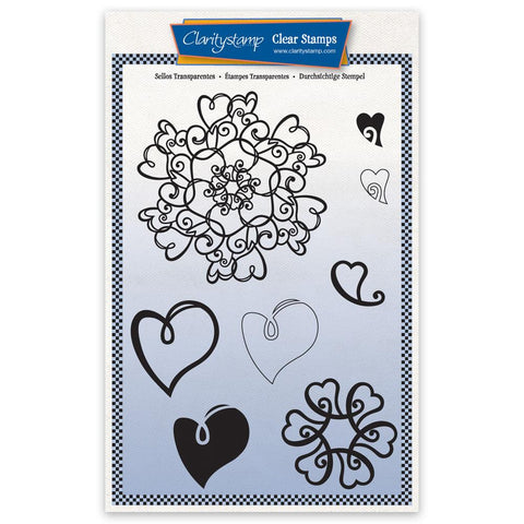 Barbara's Love Heart Doodle Round A5 Unmounted Stamp Set