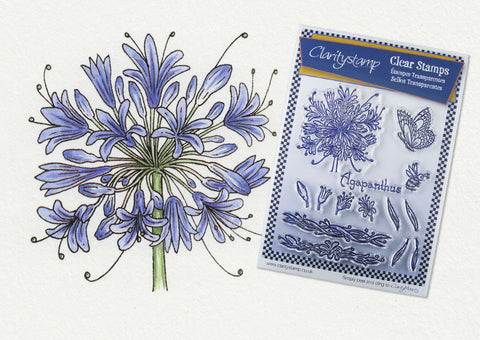 Jayne Nestorenko Floral Collection - Agapanthus Unmounted A5 Stamp Set