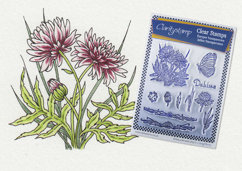 Jayne Nestorenko Floral Collection - Dahlias Unmounted A5 Stamp Set