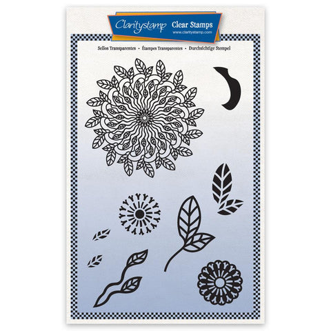 Barbara's Leafy Doodle Round A5 Unmounted Stamp Set