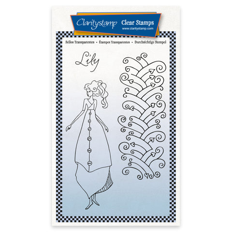 Barbara's Clarity Characters - Lily A6 Unmounted Stamp & Mask Set