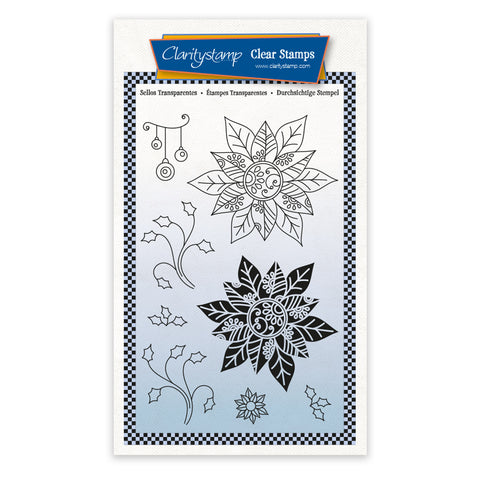 Poinsettias - Tina's 2 Way Christmas Ornaments A6 Stamp Set