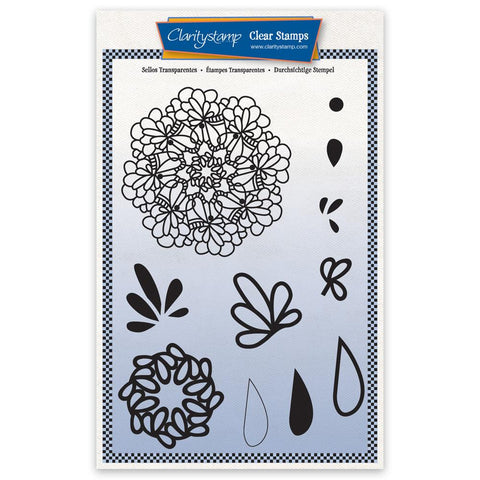 Barbara's Posy Doodle Round A5 Unmounted Stamp Set