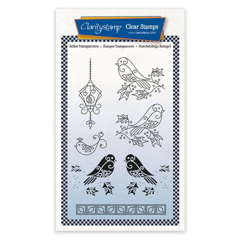 Robins - Tina's 2 Way Christmas Ornaments A6 Stamp Set