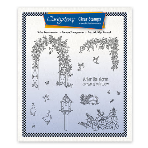 Linda's In the Garden - Rose Arch Unmounted Stamp Set + Mask (PRE-ORDER)