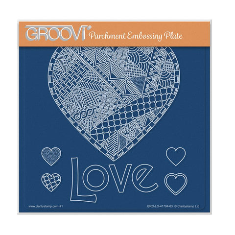 Barbara's SHAC Love Heart Doodle A5 Square Groovi Plate