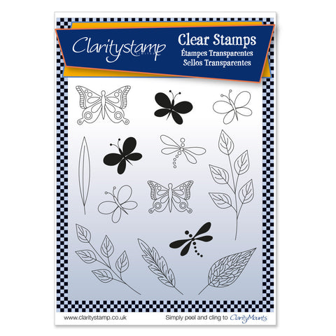 Tina's Butterflies & Dragonflies + MASK <br/>Unmounted Clear Stamp Set