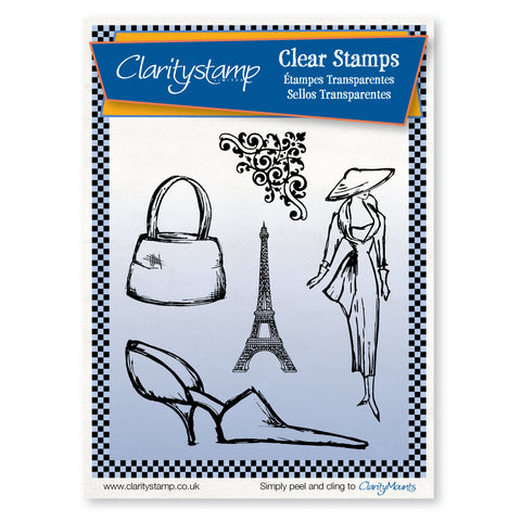Sketchy Paris Fashion + MASK - Unmounted Clear Stamp Set