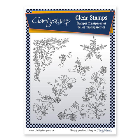 Tina's Floral Swirls & Corners 1 <br/> Unmounted Clear Stamp Set