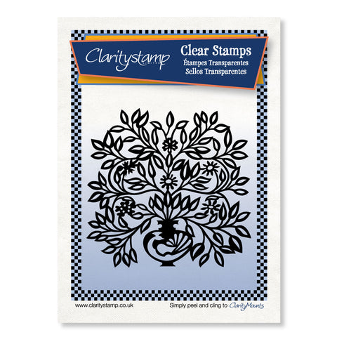 Peacock Floral Urn <br/> A6 Unmounted Stamp