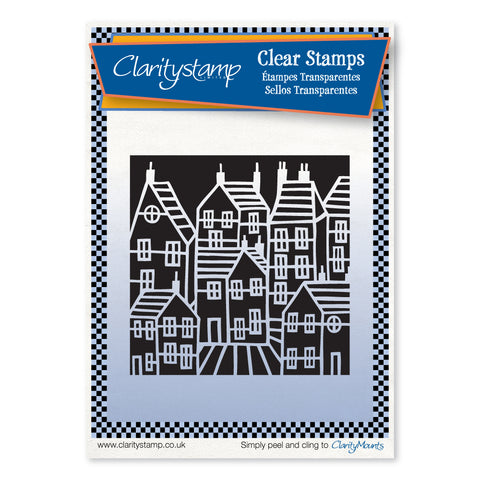 Townhouse Negative + Mask <br/> Unmounted Clear Stamp Set