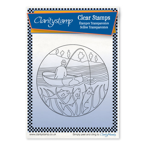 Fisherman Round - Fine Line <br/> A6 Unmounted Stamp