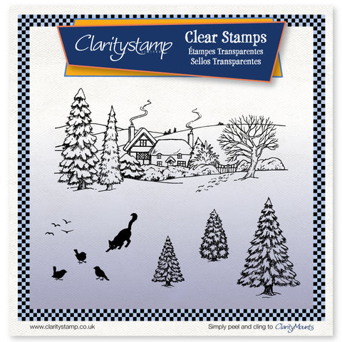 Jayne Nestorenko Winter Scene - Cat - Unmounted Stamp Set
