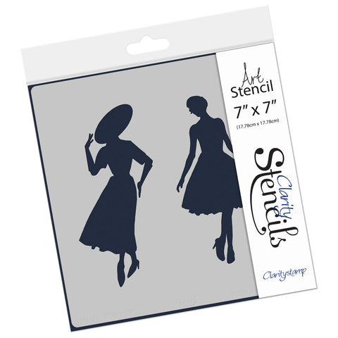 "Elegant Ladies Stencil 7"" x 7"""
