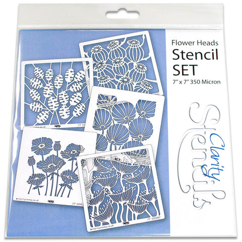 "Flower Heads Stencils 7"" x 7"" (Set of 5)"