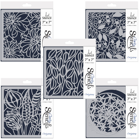 "Pods & Foliage 7"" x 7"" Stencil Set (Set of 5)"