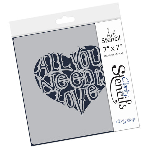 "All You Need Is Love Stencil 7"" x 7"""