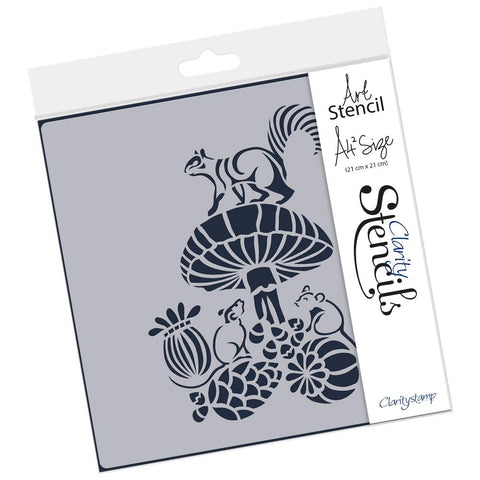 Woodland Toadstool & Friends <br/> A4 Square Stencil