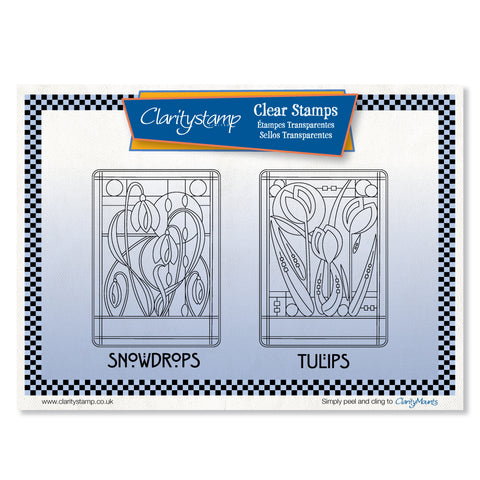 Art Nouveau Snowdrops & Tulips <br/> Unmounted A5 Clear Stamp Set