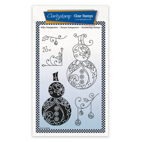 Snowmen - Tina's 2 Way Christmas Ornaments A6 Stamp Set