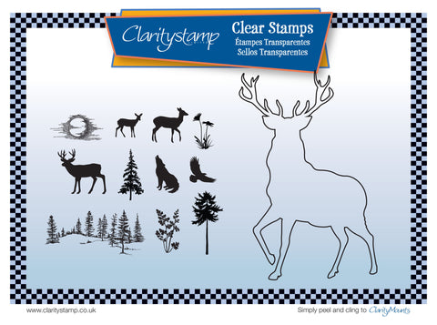 Stag Outline + MASK Unmounted Clear Stamp Set
