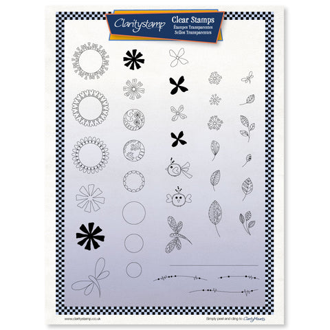 Tina's Doodle Flowers <br/> A4 Fine Line Unmounted Stamp Set