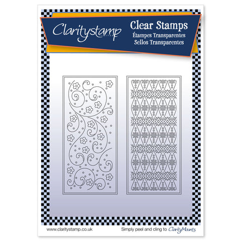 Tina's Floral Layering Rectangles <br/> A5 Stamp Set <br/>