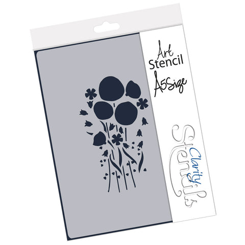 Tina's Poppy Flower Spray <br/> A5 Stencil