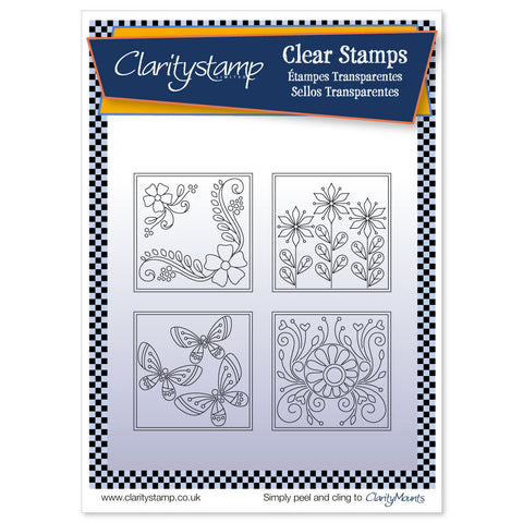 Tina's Summer Layering Squares & MASK <br/> A5 Stamp Set