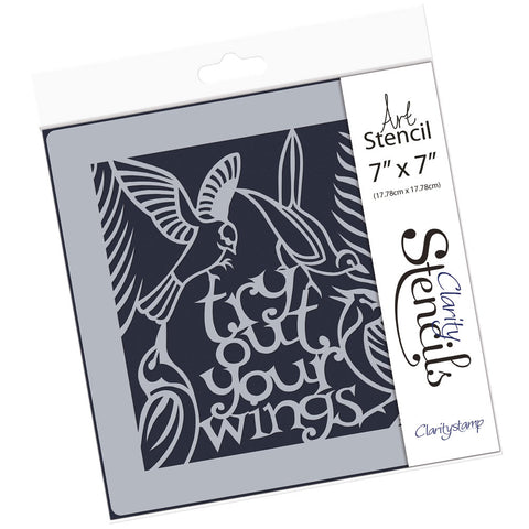 "Try Out Your Wings <br/> 7"" x 7"" Stencil"