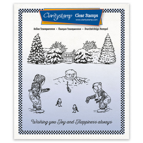 Jayne's Small Winter Scene - Children A5 Square Unmounted Clear Stamp Set