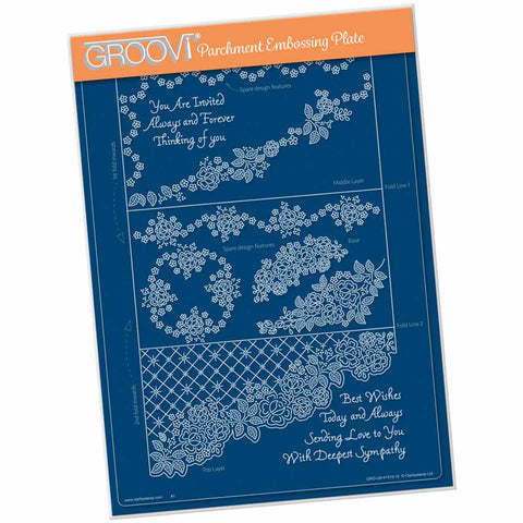 Linda's It's A Wrap! - Diagonal Rose Lace Trifold  A4 Groovi Plate