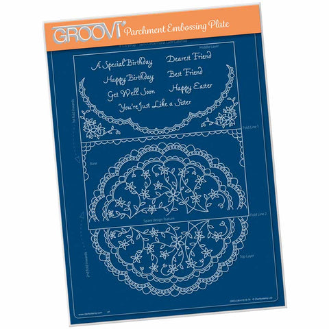 Linda's It's A Wrap! - Semi Circle Flourish Lace Gatefold  A4 Groovi Plate