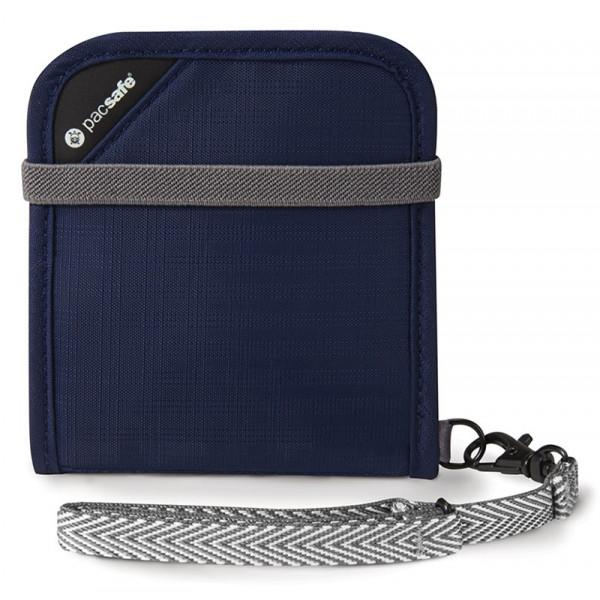 Pacsafe RFIDsafe V100 Navy - RFID-blocking bi-fold wallet