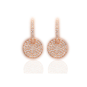 White Diamonds Round Drop Earrings