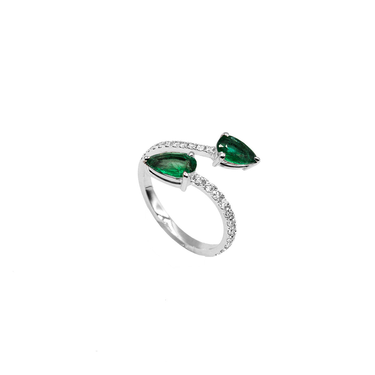 Serpent Double Pear Emerald Ring