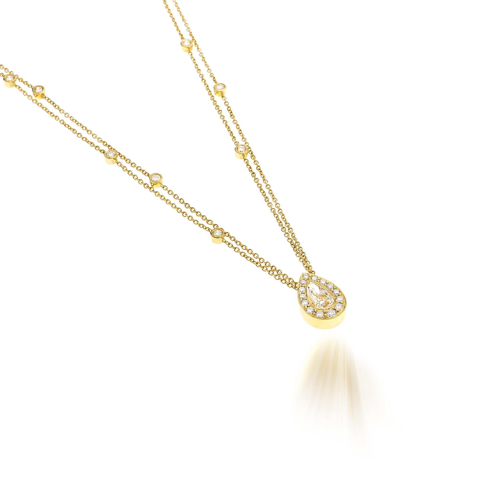 Pear Candy Diamond With Double Chain