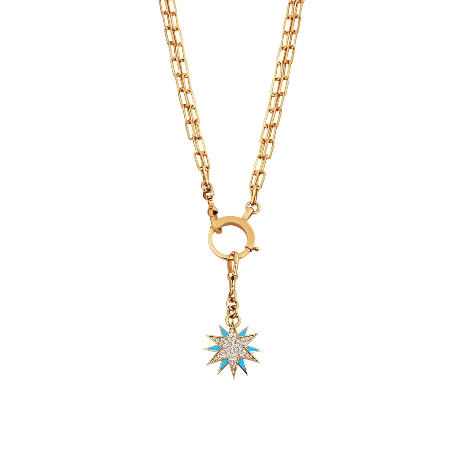 Starburst Diamond Enamel Necklace