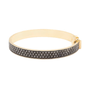 Three Row Black Bangle